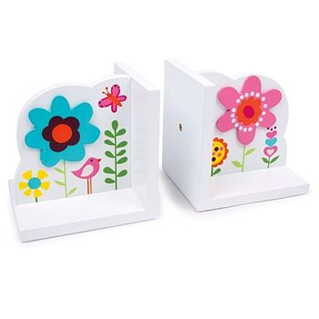 Wooden Flower Girls Bookends