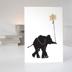 Elephant Christmas Card - winter sale