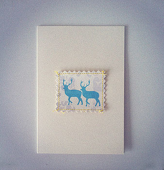 Deer And Damask Card