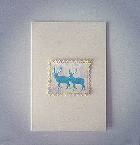 Deer And Damask Card - posters & prints