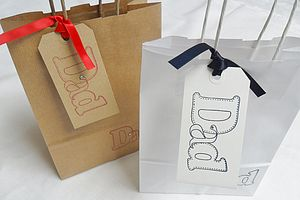 'Dad' Gift Bag And Tag : Two Sizes - wrapping