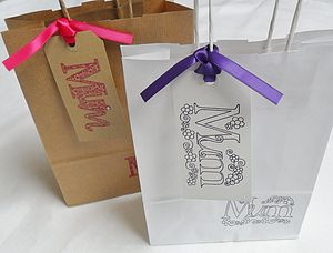 'Mum' Gift Bag And Tag : Two Sizes - ribbon & wrap