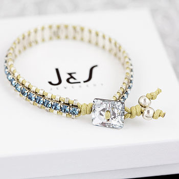 Personalised Swarovski Friendship Bracelet - Demin Blue
