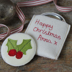 Embroidered Christmas Mirror - compact mirrors