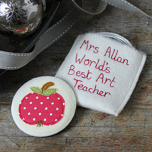 Embroidered Teacher Mirror - compact mirrors
