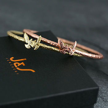 Hammered Bird Bangle Bracelet - Matt Gold & Rose Gold