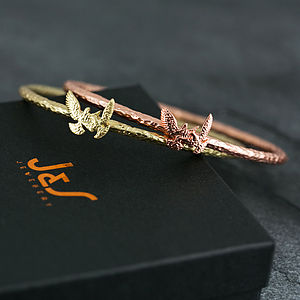 Hammered Bird Motif Bangle Bracelet - women's jewellery