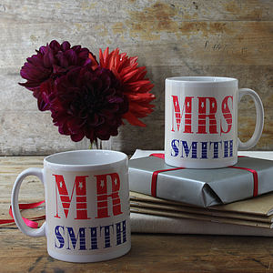 Pair Of Personalised Mr And Mrs Mugs - engagement gifts