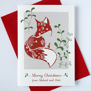 10 Personalised Christmas Cards With Fox - cards & wrap