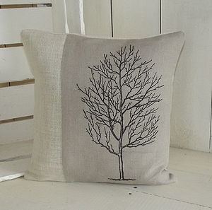 ' Natural Linen Tree ' Cushion - patterned cushions