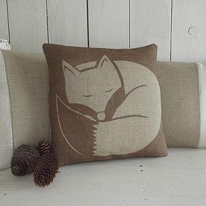 ' Chestnut Sleeping Fox ' Cushion - cushions