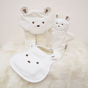 Personalised Smiley Teddy Baby Towel Gift Set - bathtime