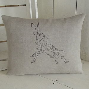 ' Natural Linen Hare ' Cushion