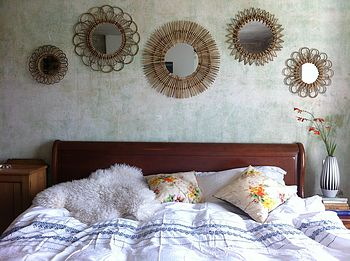 Set Of Five Rattan Sunburst Mirrors