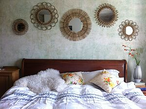 Set Of Five Rattan Sunburst Mirrors - bedroom