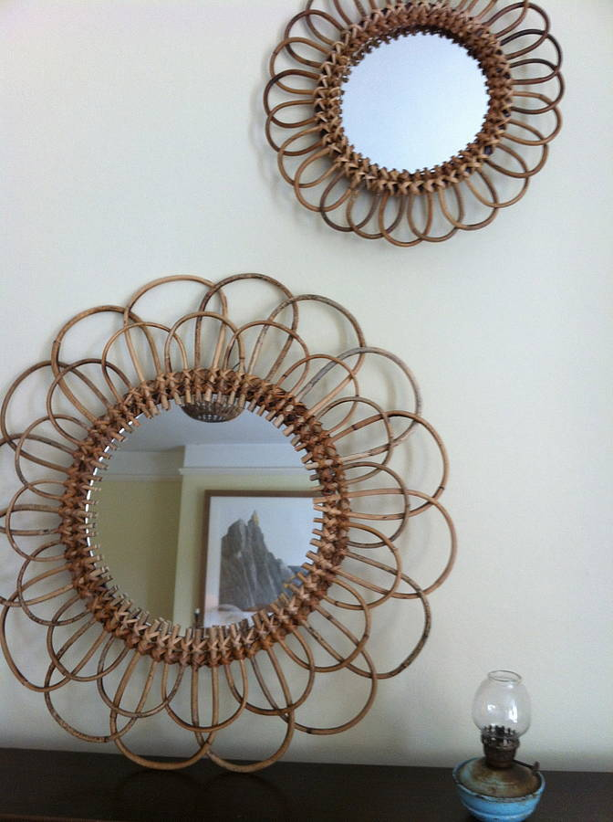 Set Of Five Rattan Sunburst Mirrors By The Forest & Co ...