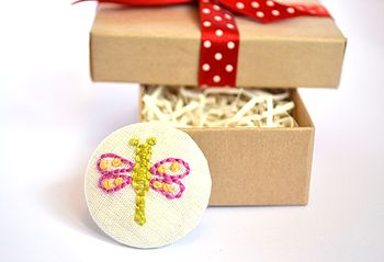 Hand Embroidered Dragonfly Brooch