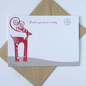 20 Christmas Notecards With Reindeer - thank you cards