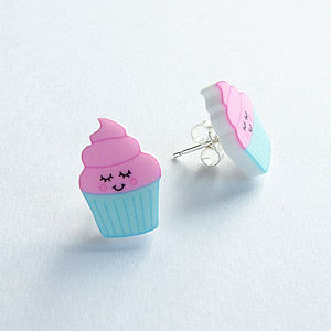 Illustrated Cupcake Acrylic Stud Earrings - earrings