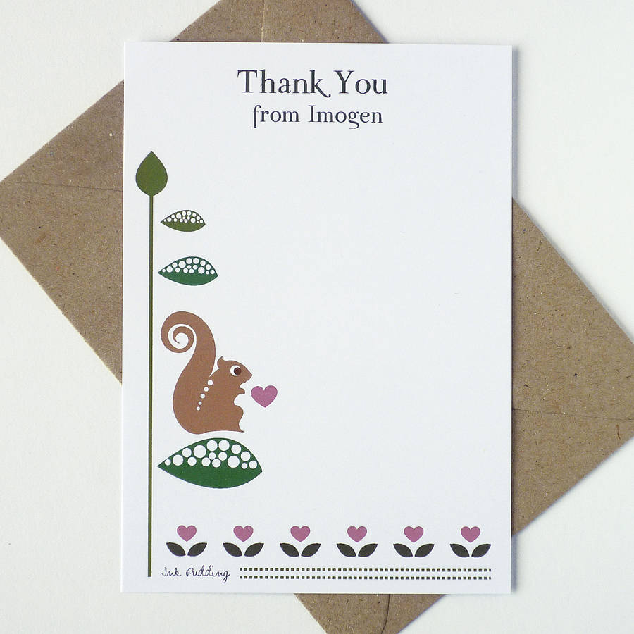 20 Thank You Notecards With Squirrels