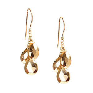 Gold Pyrite Shower Of Gemstones Earrings - earrings