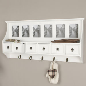 Six Drawer Hallway Cabinet - hooks, pegs & clips