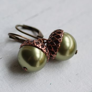 Green Acorn Earrings