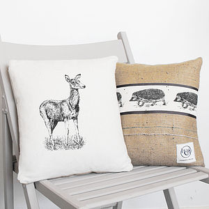 Deer And Hedgehog Cushion - patterned cushions