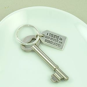 No Work Sundays Silver Charm Key Ring - metal keyrings