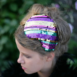 Disco Dazzler Striped Sequin Headdress