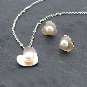 Pearl Heart Pendant And Studs Set - earrings