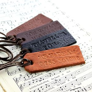 Personalised Handstamped Leather Luggage Tag - mens