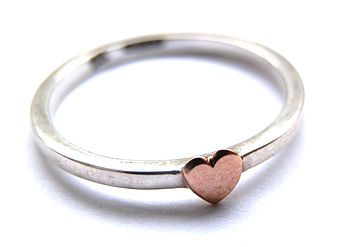 Gold Heart And Silver Stacking Ring