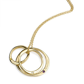 18ct Gold Vermeil Ring Necklace With Stones