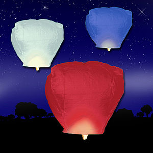 Red, White And Blue Sky Lanterns Sale - outdoor lights