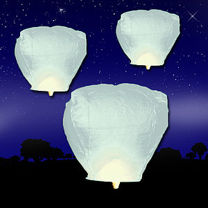 Five Single White Sky Lanterns - lighting