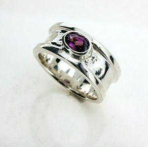 Small Silver And Garnet Drum Ring - birthstone jewellery gifts