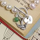 Heart Initial Charm with Swallow and Aventurine Bead