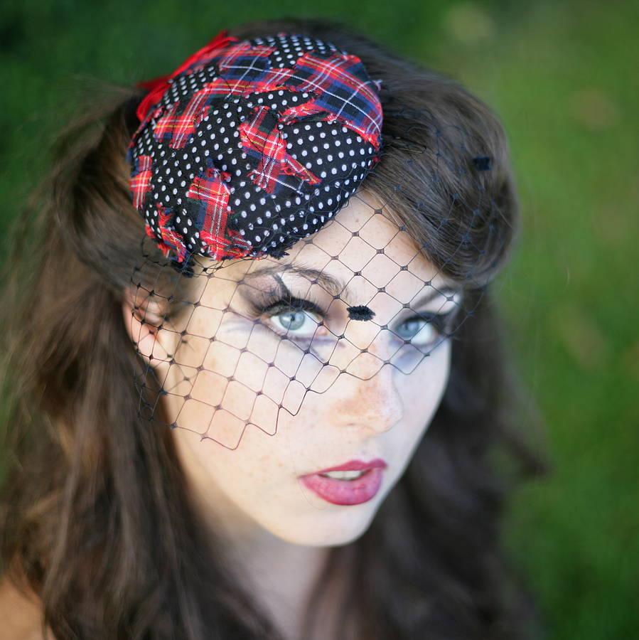 de8fe71d5aa tartan and polka dot pillbox hat with veil by the headmistress ...
