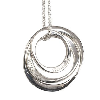 Personalised Three Silver Ring Necklace