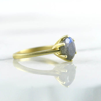 Gold Labradorite Gemstone Ring