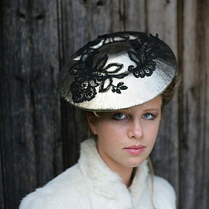 Rococo Leather And Antique Lace Saucer Hat - hats & fascinators