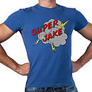 Personalised Men's Superhero Cotton Crewneck T Shirt