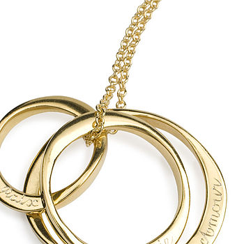Three gold plated brass ring pendant on 66cm chain -detail