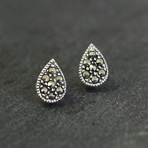 Sterling Silver Marcasite Tear Drop Earrings - earrings
