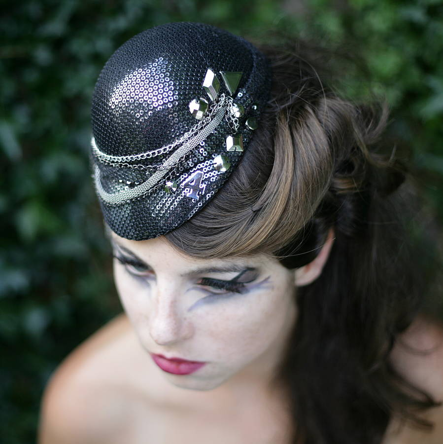 Ria Sequin Hat With Studs And Chains