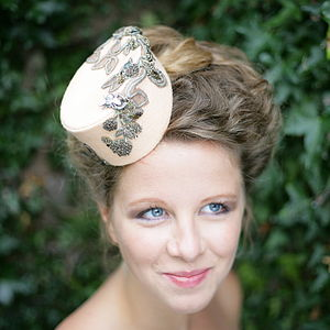 Felt Hat With Antique Lace And Embelishments - hats & fascinators