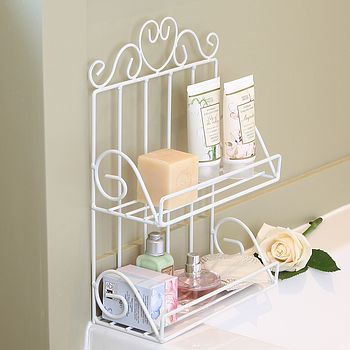 White Wire Two Tier Bathroom Storage Rack