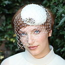 Bridal Hat With Pearls And Birdcage Veil
