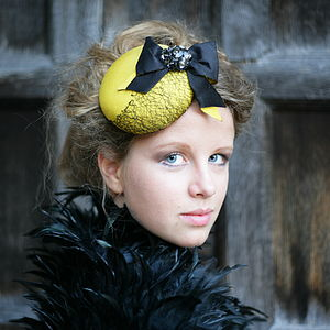 Bumble Bee Pillbox Hat With Bow - hats & fascinators